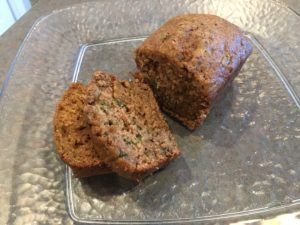 zucchini bread out of the oven