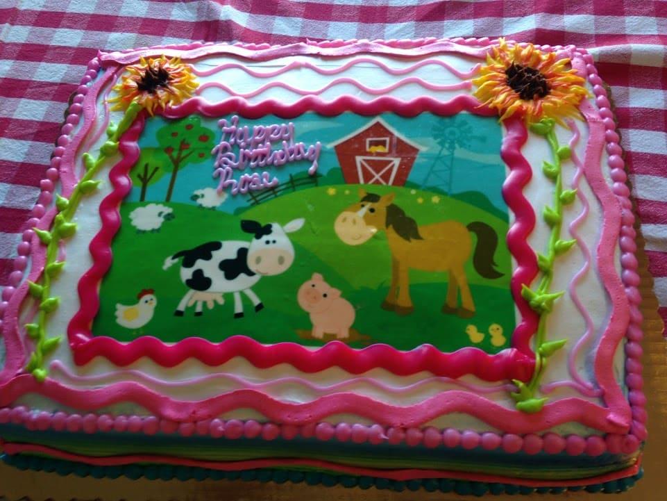 farm theme party cake