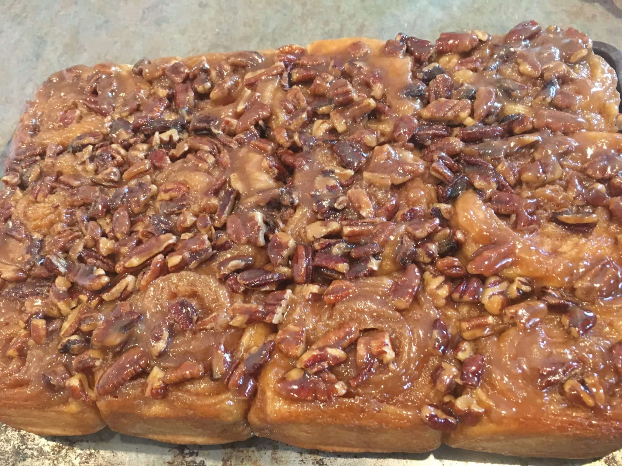 sticky buns out of the oven