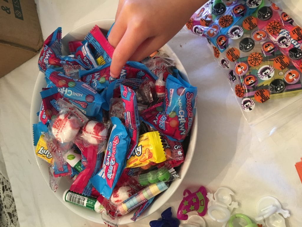 Halloween treat bag assembly line