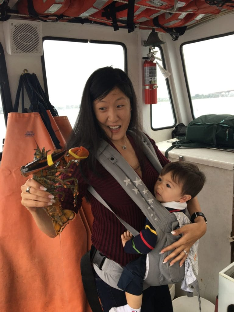 cruising with toddler on lobster boat