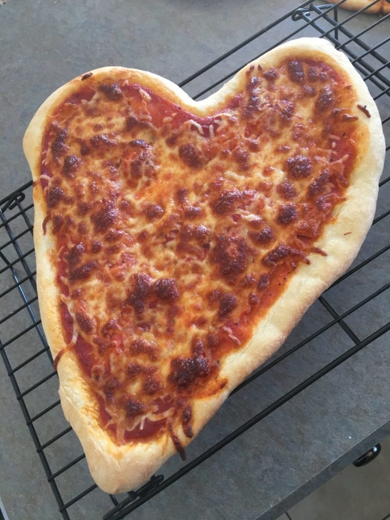 finished heart shaped pizza