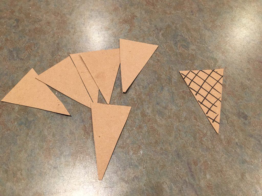 cutting handmade ice cream cone